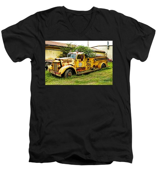 Men's V-Neck T-Shirt featuring the photograph 1954 Federal Fire Engine by Paul Mashburn