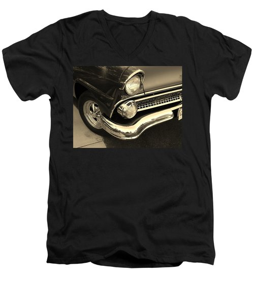 Men's V-Neck T-Shirt featuring the photograph 1955 Ford Crown Victoria by Jean Goodwin Brooks