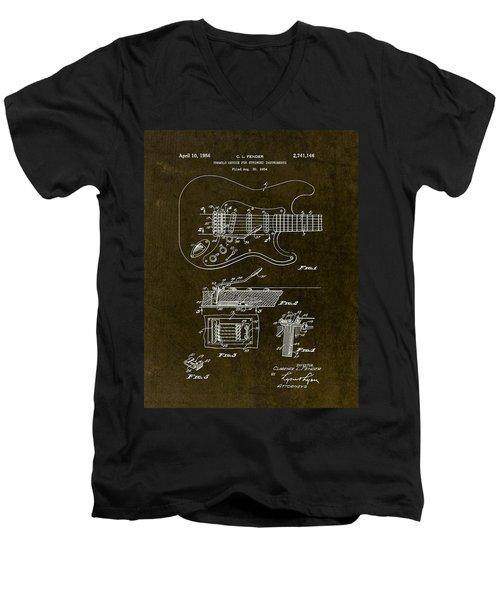 1956 Fender Tremolo Patent Drawing II Men's V-Neck T-Shirt by Gary Bodnar