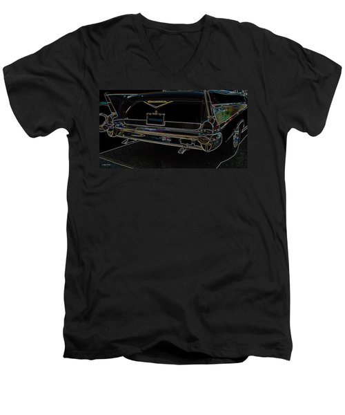 1957 Chevrolet Rear View Art Black_varooom Tag Men's V-Neck T-Shirt