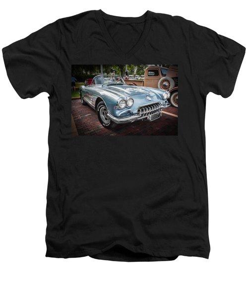 1958 Chevy Corvette Painted Men's V-Neck T-Shirt