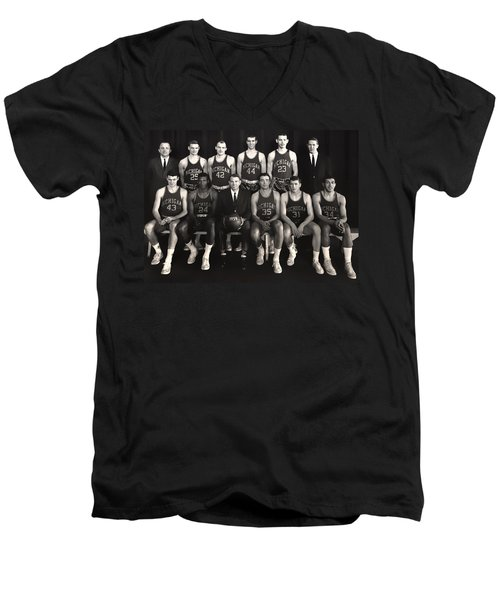 1959 University Of Michigan Basketball Team Photo Men's V-Neck T-Shirt by Mountain Dreams