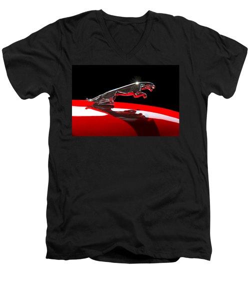 1961 Jaguar Kougar Hood Ornament -0569c Men's V-Neck T-Shirt