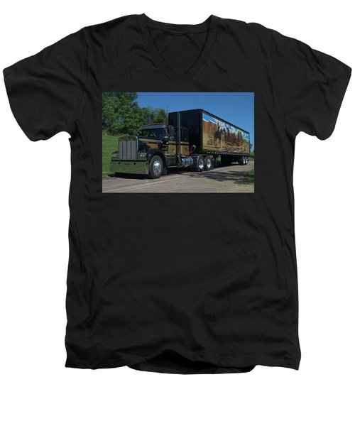 Men's V-Neck T-Shirt featuring the photograph Smokey And The Bandit Tribute 1973 Kenworth W900 Black And Gold Semi Truck by Tim McCullough
