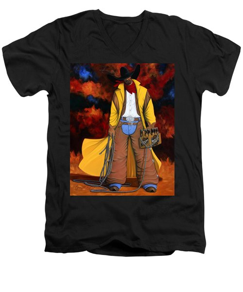 10 Pac Men's V-Neck T-Shirt by Lance Headlee