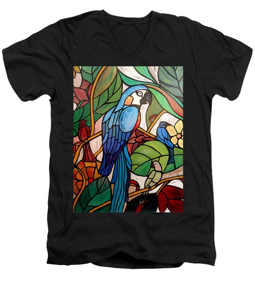 Men's V-Neck T-Shirt featuring the painting 3 Birds On A Vine by Cynthia Amaral