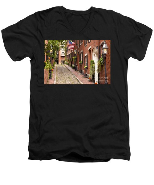 Acorn Street Boston Men's V-Neck T-Shirt
