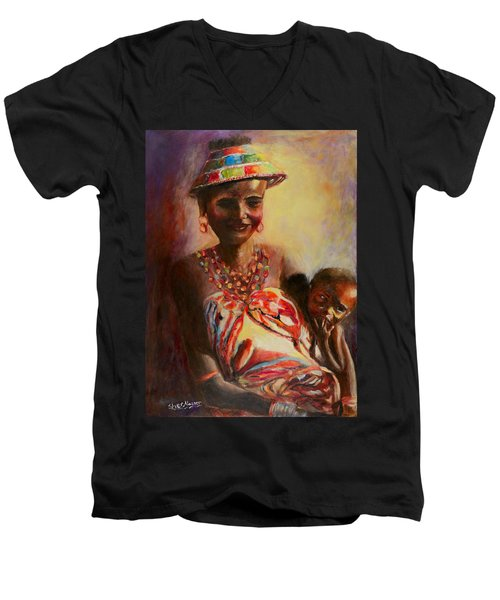 Men's V-Neck T-Shirt featuring the painting African Mother And Child by Sher Nasser