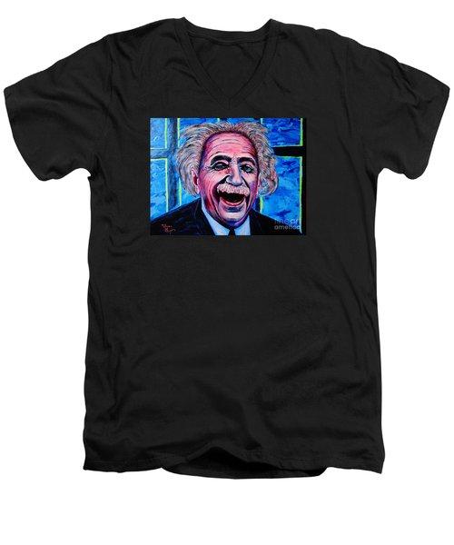 Men's V-Neck T-Shirt featuring the painting Albert Einstein by Viktor Lazarev