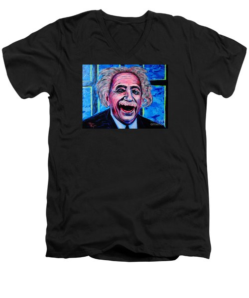 Albert Einstein Men's V-Neck T-Shirt by Viktor Lazarev