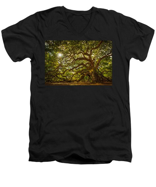 Angel Oak Men's V-Neck T-Shirt by Serge Skiba