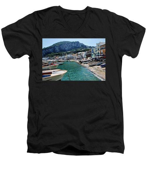 Arrival To Capri  Men's V-Neck T-Shirt