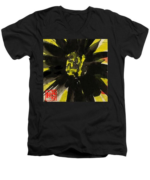 Men's V-Neck T-Shirt featuring the painting Asian Sunflower by Joan Reese
