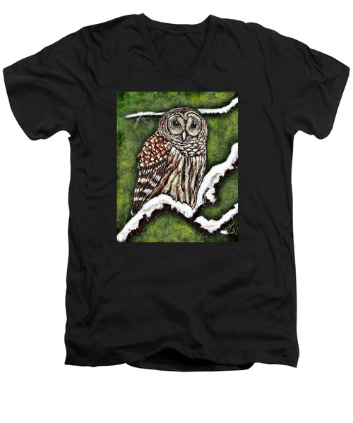 Men's V-Neck T-Shirt featuring the painting Barred Owl by VLee Watson