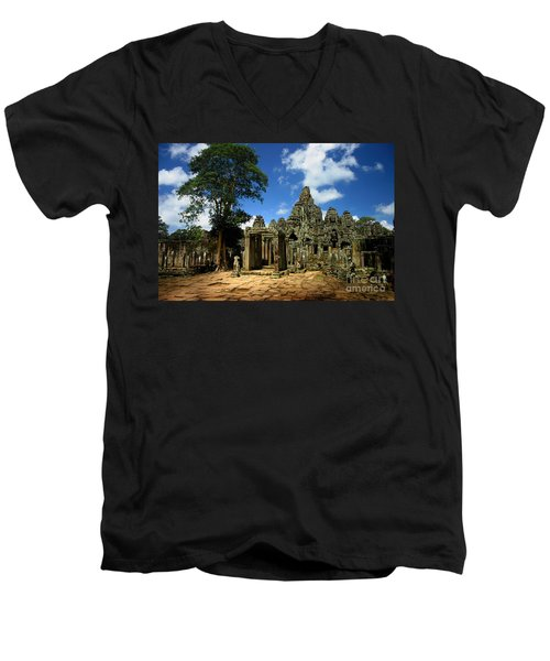 Men's V-Neck T-Shirt featuring the photograph Bayon Temple View From The East by Joey Agbayani