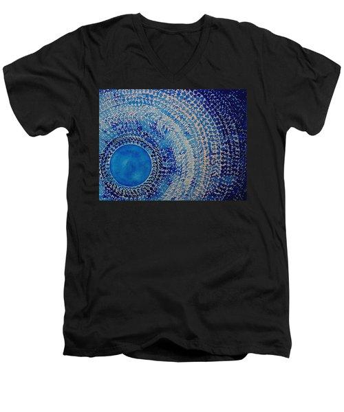 Blue Kachina Original Painting Men's V-Neck T-Shirt by Sol Luckman