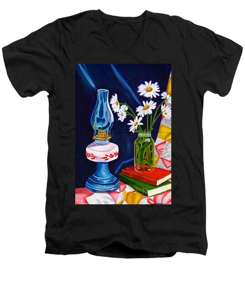 Men's V-Neck T-Shirt featuring the painting 2 Books And A Lamp by Laura Forde