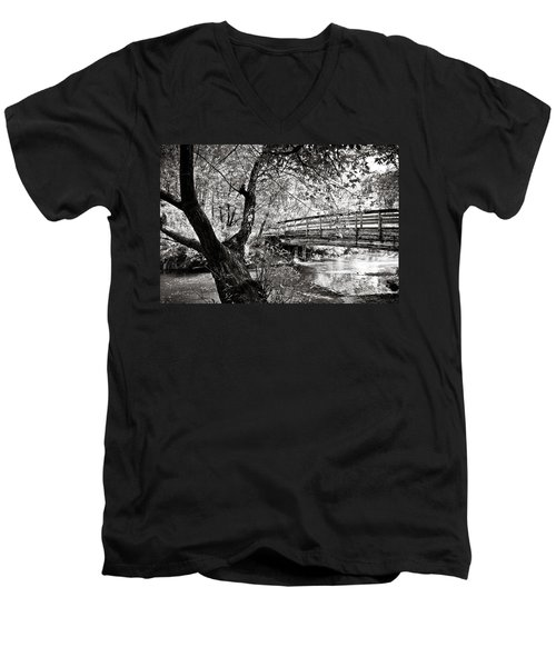 Bridge At Ellison Park Men's V-Neck T-Shirt by Sara Frank