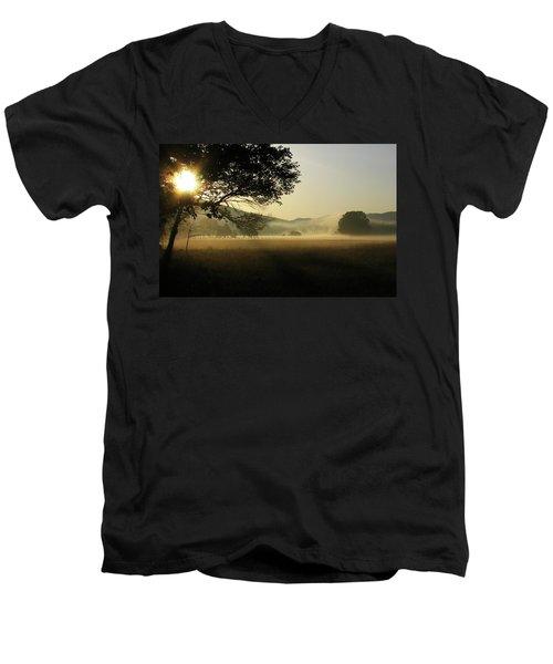 Cades Cove Sunrise II Men's V-Neck T-Shirt by Douglas Stucky