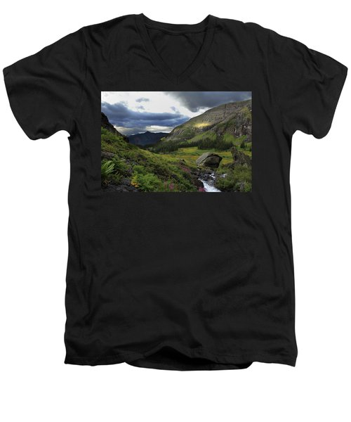 Men's V-Neck T-Shirt featuring the photograph Cascade In Lower Ice Lake Basin by Alan Vance Ley