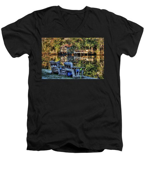 2 Chairs On The Magnolia River Men's V-Neck T-Shirt