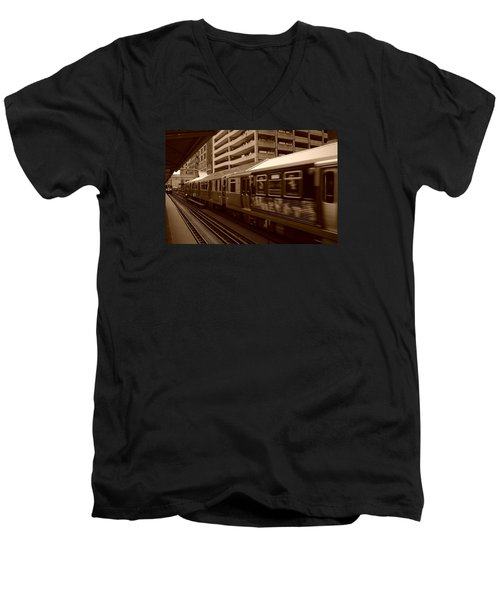 Men's V-Neck T-Shirt featuring the photograph Chicago Cta by Miguel Winterpacht