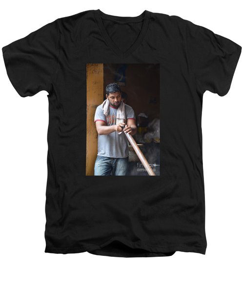 Men's V-Neck T-Shirt featuring the photograph Cooking Breakfast Early Morning Lahore Pakistan by Imran Ahmed