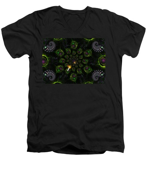 Men's V-Neck T-Shirt featuring the digital art Cosmic Embryos by Shawn Dall