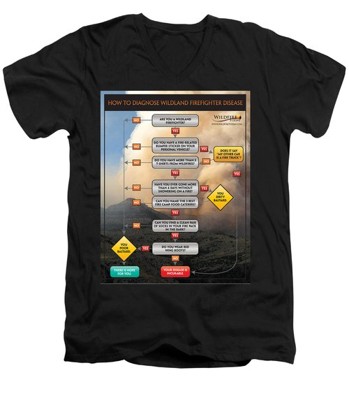 Men's V-Neck T-Shirt featuring the photograph Diagnosing Wildland Firefighter Disease by Bill Gabbert
