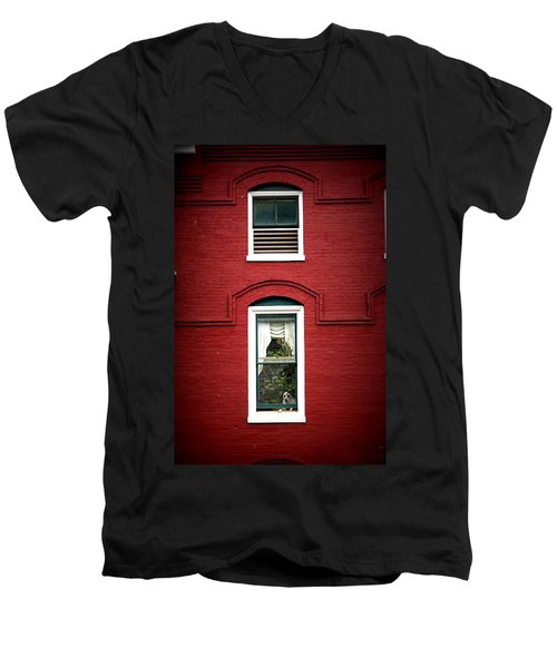Doggie In The Window Men's V-Neck T-Shirt by Laurie Perry