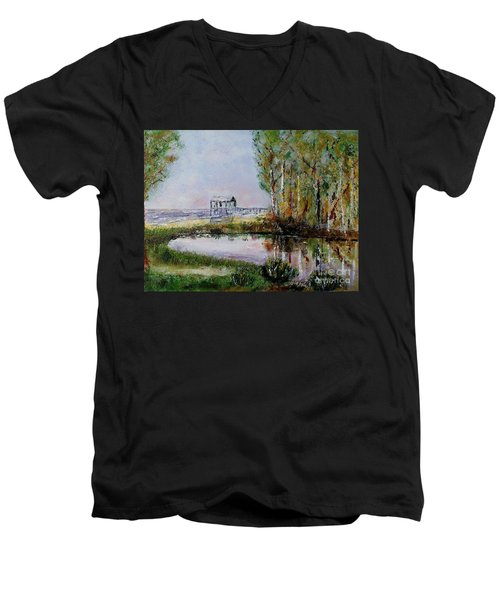 Men's V-Neck T-Shirt featuring the painting Fairhope Al. Duck Pond by Melvin Turner