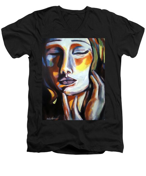 Men's V-Neck T-Shirt featuring the painting Emotion by Helena Wierzbicki