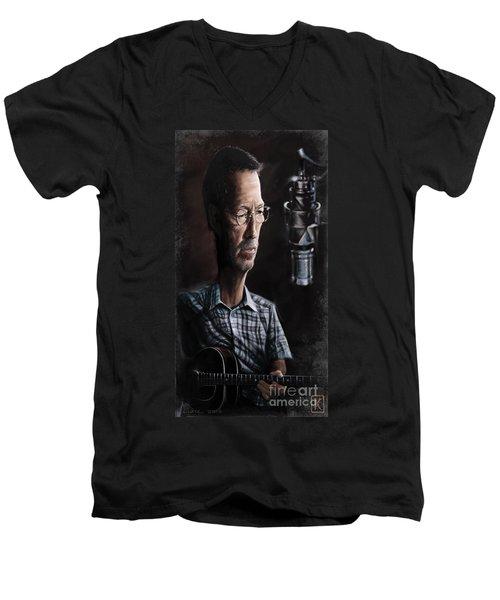Eric Clapton Men's V-Neck T-Shirt by Andre Koekemoer