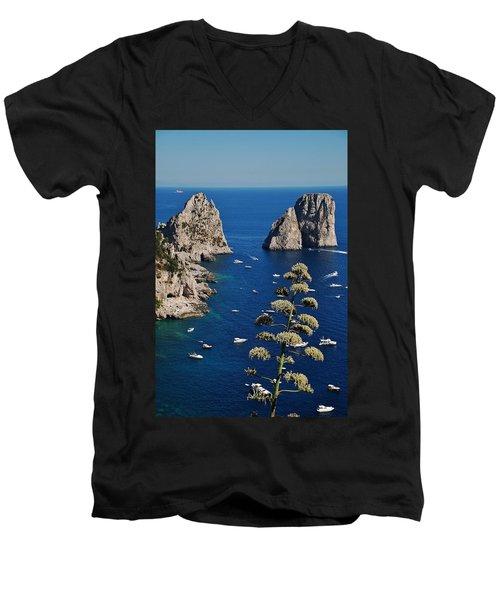 Faraglioni In Capri Men's V-Neck T-Shirt