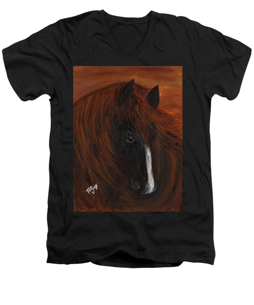 Men's V-Neck T-Shirt featuring the painting Firestorm by Barbie Batson