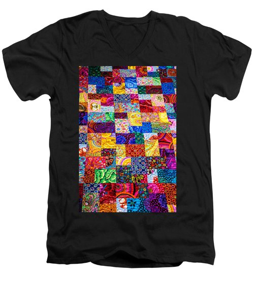 Hand Made Quilt Men's V-Neck T-Shirt by Sherman Perry