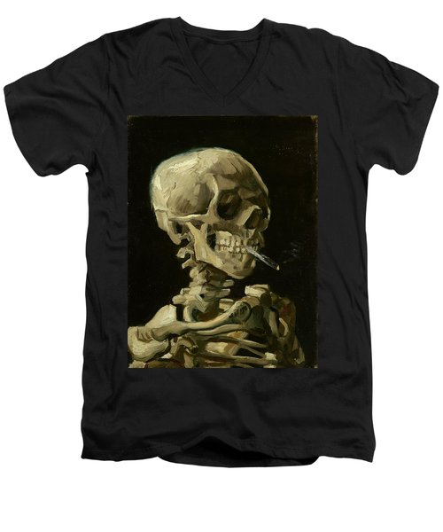 Head Of A Skeleton With A Burning Cigarette Men's V-Neck T-Shirt