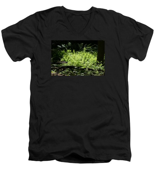 In The Woods Men's V-Neck T-Shirt by Heidi Poulin