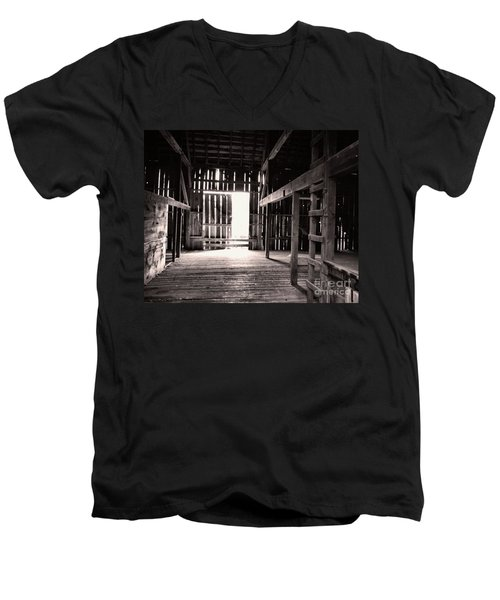 Men's V-Neck T-Shirt featuring the photograph Inside An Old Barn by John S