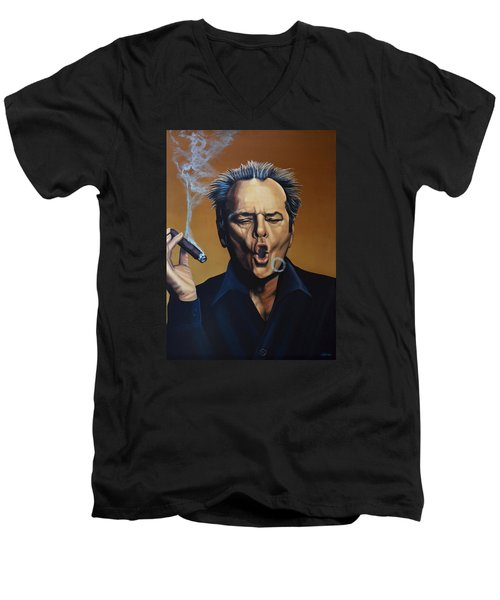 Jack Nicholson Painting Men's V-Neck T-Shirt by Paul Meijering