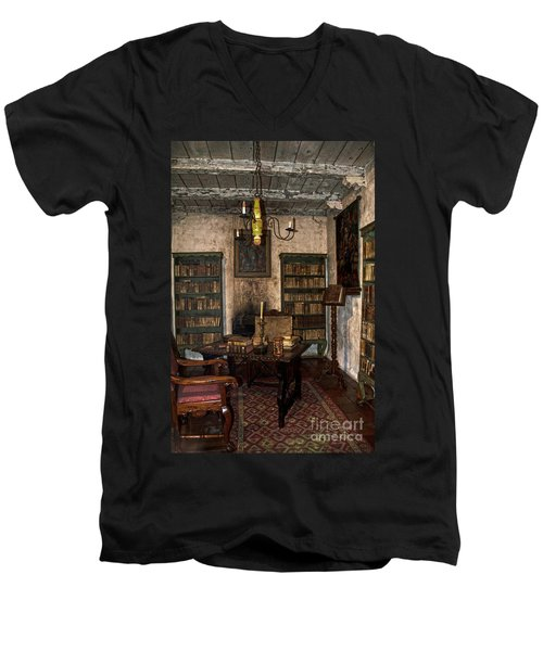 Junipero Serra Library In Carmel Mission Men's V-Neck T-Shirt