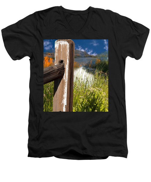 Landscape With Fence Pole Men's V-Neck T-Shirt
