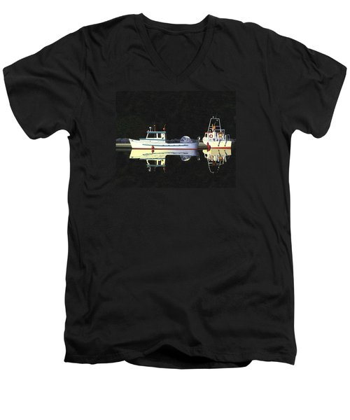 Men's V-Neck T-Shirt featuring the painting Last Light  Island Moorage by Gary Giacomelli