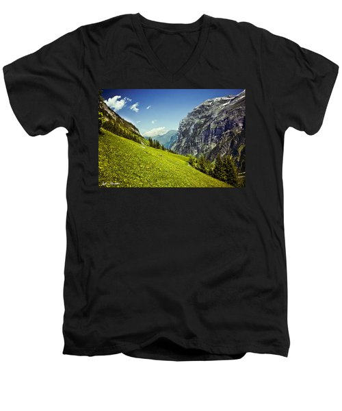 Lauterbrunnen Valley In Bloom Men's V-Neck T-Shirt by Jeff Goulden