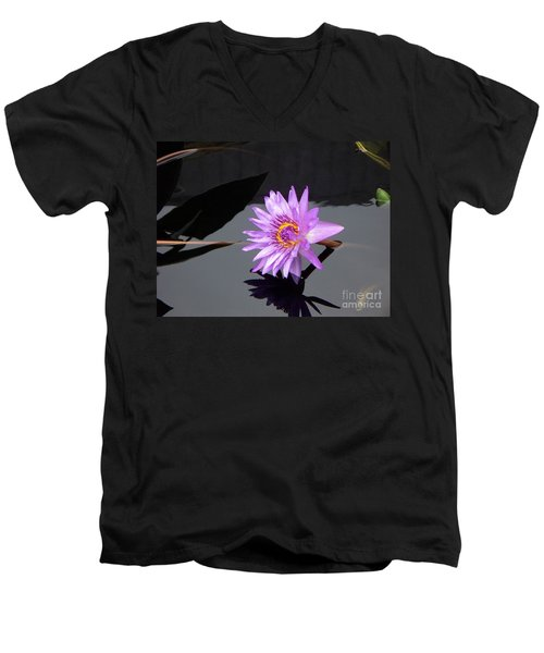 Lavender Lily Men's V-Neck T-Shirt by Eric  Schiabor