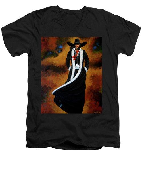 Leather And Fur Men's V-Neck T-Shirt