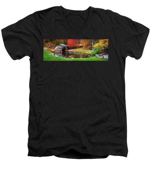 Mabry Mill Pano Men's V-Neck T-Shirt
