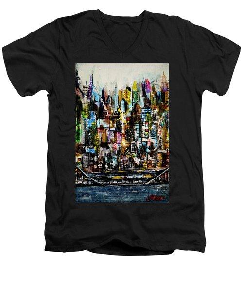 Manhattan Morning Men's V-Neck T-Shirt
