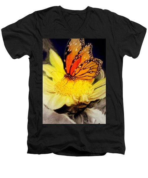 Monarch Resting Sold Pastel Men's V-Neck T-Shirt by Antonia Citrino