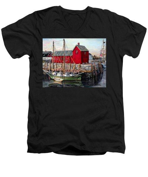 Motif  Number One Men's V-Neck T-Shirt by Eileen Patten Oliver